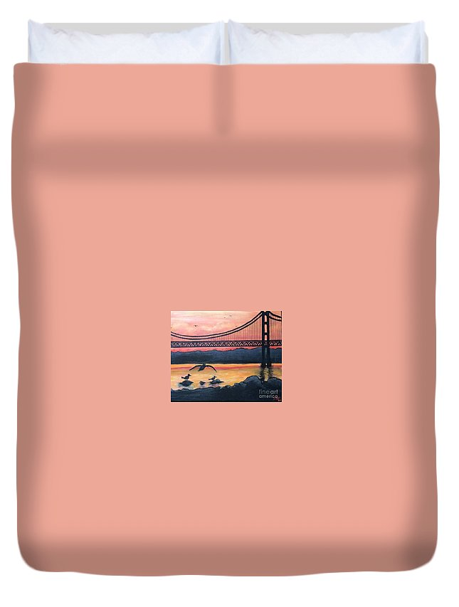 Bridge Duvet Cover featuring the painting Bridge Silhouette by Brandon Miller