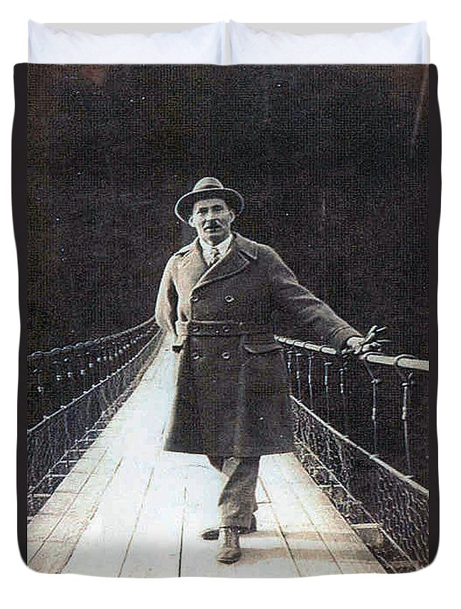 Bridge Man Classic Black And White Old Photo Pioneers Old Days 1900s Duvet Cover featuring the photograph Bridge To Dreams by Andrea Lawrence