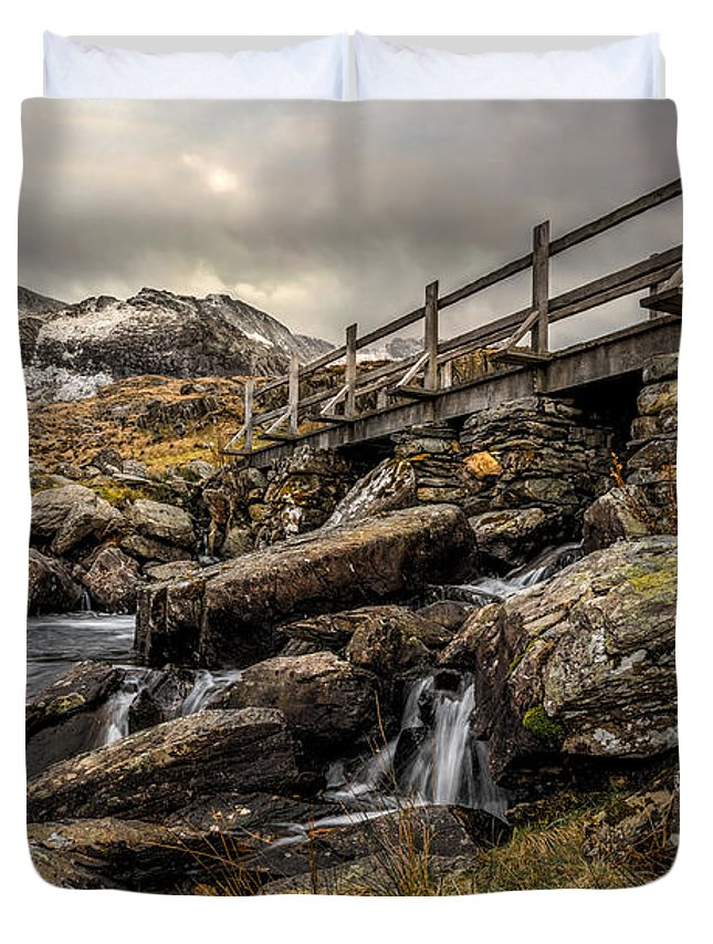Waterfall Duvet Cover featuring the photograph Bridge To Moutains by Adrian Evans