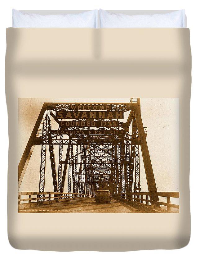 Bridge Duvet Cover featuring the photograph Bridge To Savannah by JAMART Photography