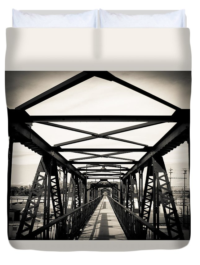 Bridge Duvet Cover featuring the photograph Bridge To The Past by John Vial