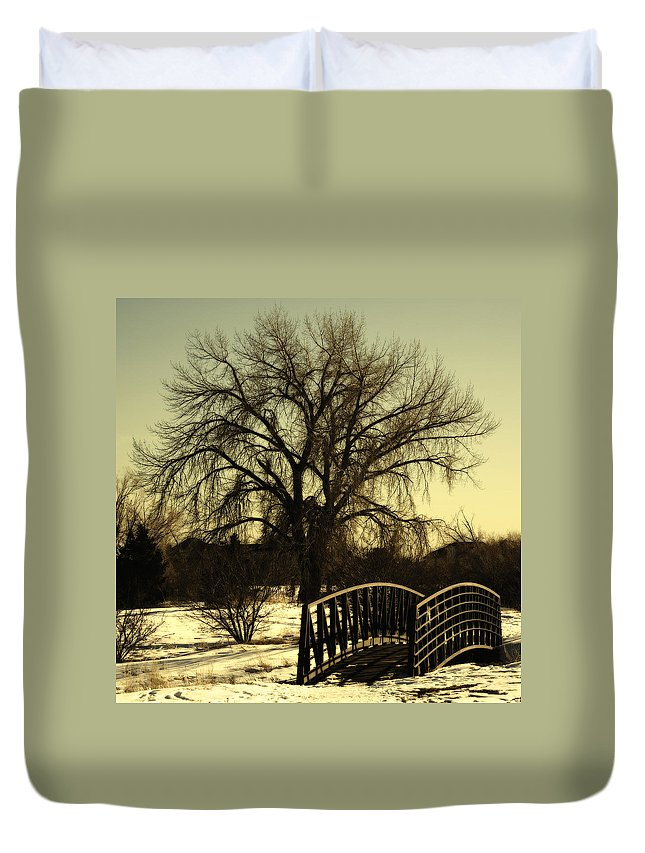 Bridge Duvet Cover featuring the photograph Bridge to Tree by Marilyn Hunt