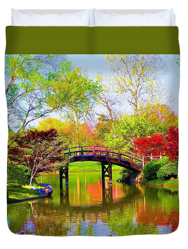 Canvas Print Duvet Cover featuring the painting Bridge With Red Bushes In Spring by Susanna Katherine