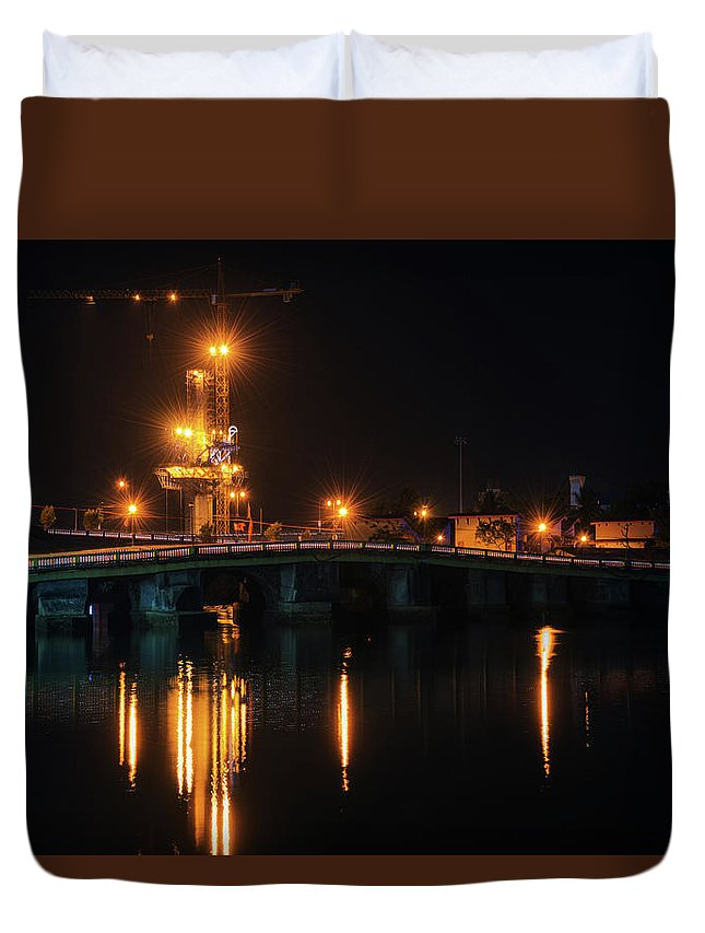 Bridge Duvet Cover featuring the photograph Bridges And Construction by Abhishek S Padmanabhan
