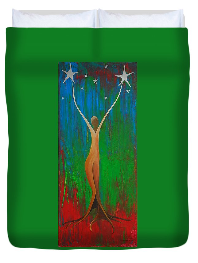 Bridging Heaven And Earth Duvet Cover featuring the painting Bridging Heaven And Earth by Catt Kyriacou