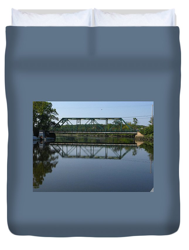 Bridging The Cathance Duvet Cover featuring the photograph Bridging The Cathance by Bill Tomsa