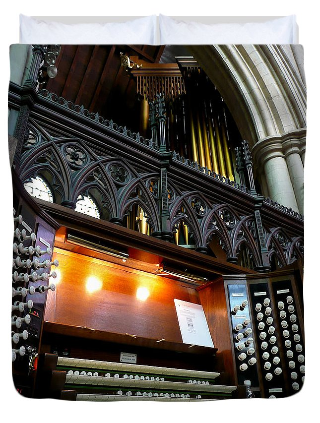 Organ Duvet Cover featuring the photograph Bridlington Priory Pipe Organ by Jenny Setchell