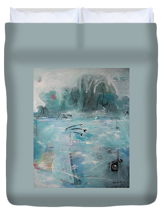 Abstract Paintings Duvet Cover featuring the painting Brierly Beach by Seon-Jeong Kim