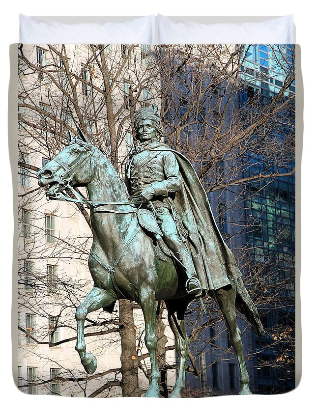 Casimir Duvet Cover featuring the photograph Brigadier General Casimir Pulaski Saved George Washington's Life by Cora Wandel