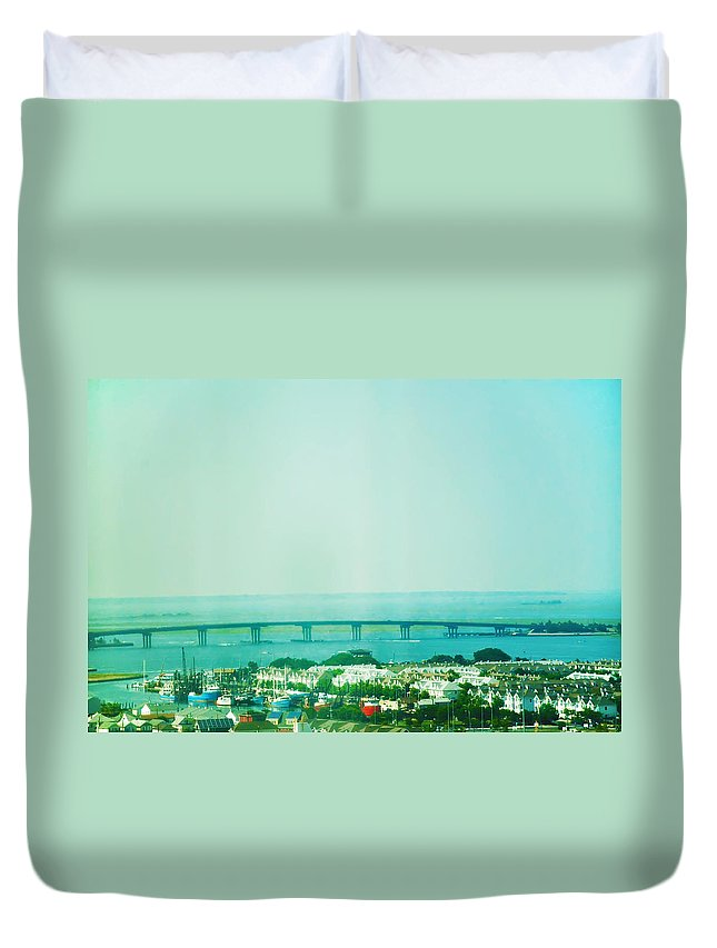 Brigantine Duvet Cover featuring the photograph Brigantine Bridge - New Jersey by Bill Cannon