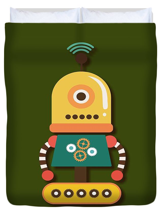 Retro Duvet Cover featuring the digital art Bright And Colorful Robot Toy by Alondra Hanley