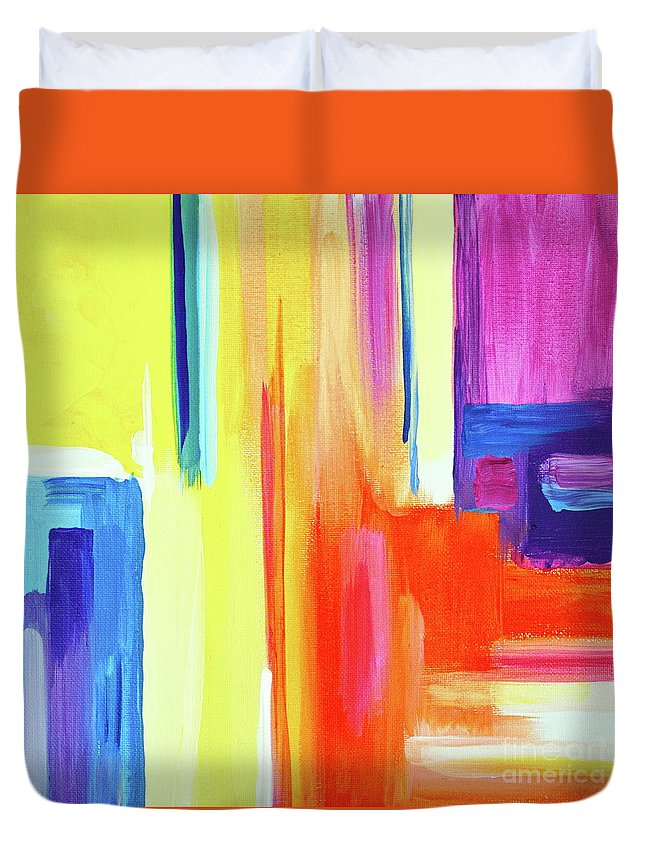 Compelling Vibrant Colorful Minamilist Artwork Consisting Of Mostly Blocky Rectangular Areas . Duvet Cover featuring the painting Bright Blocks by Priscilla Batzell Expressionist Art Studio Gallery