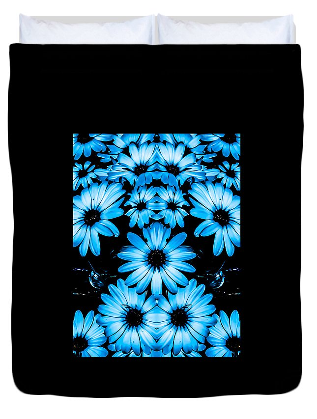 Bright Duvet Cover featuring the photograph Bright Blue Daisies by Heather Joyce Morrill