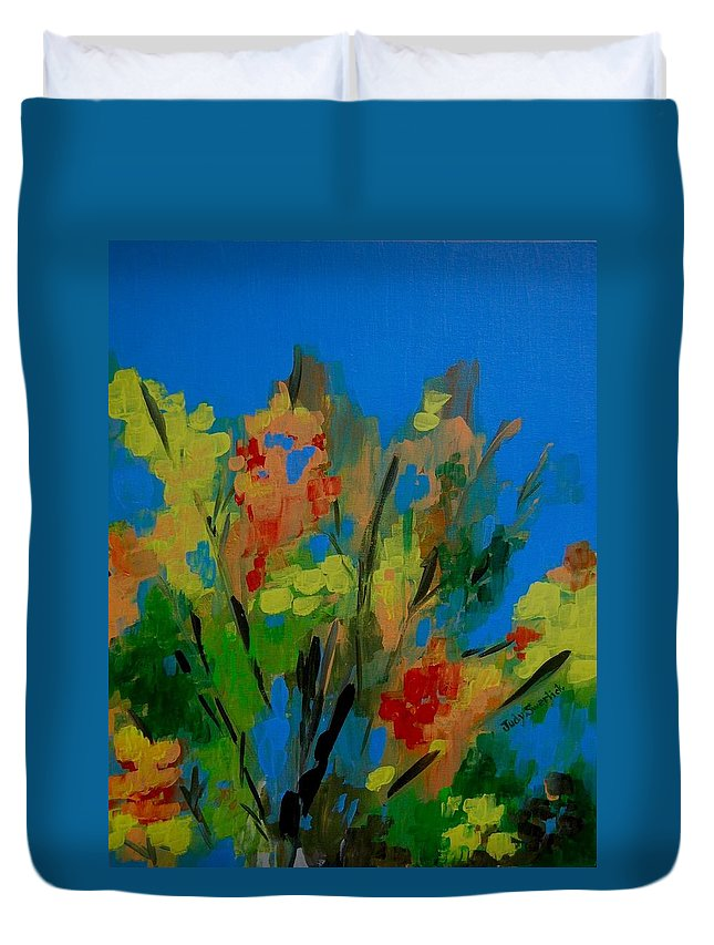 Nature Duvet Cover featuring the painting Bright Flowers On Blue by Judy Swerlick