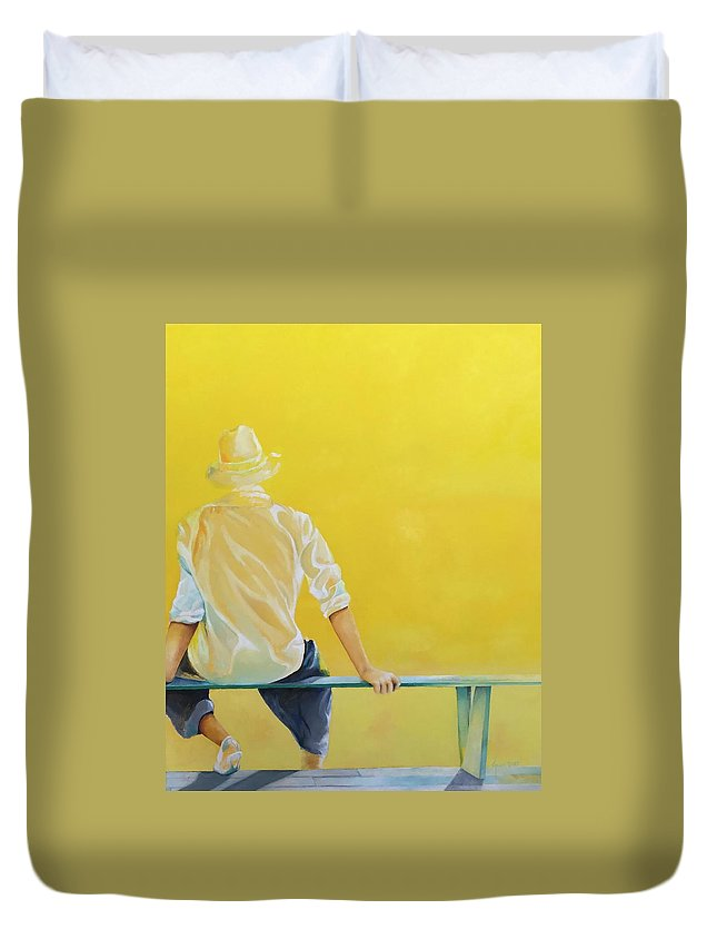 Duvet Cover featuring the painting Bright Future by Grus Lindgren
