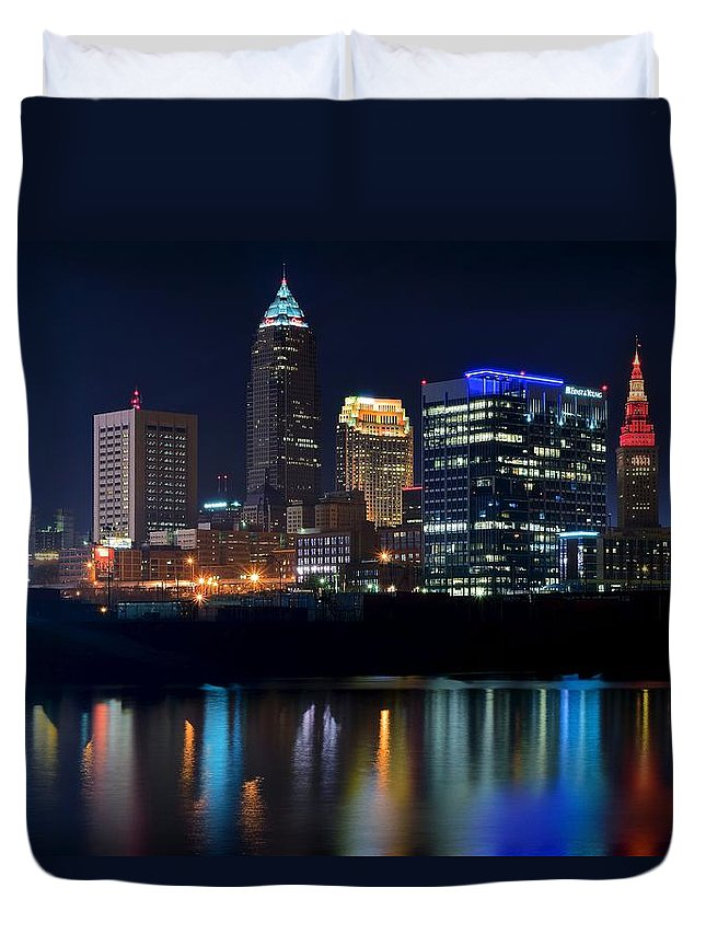 Cleveland Duvet Cover featuring the photograph Bright Lights City Nights by Frozen in Time Fine Art Photography