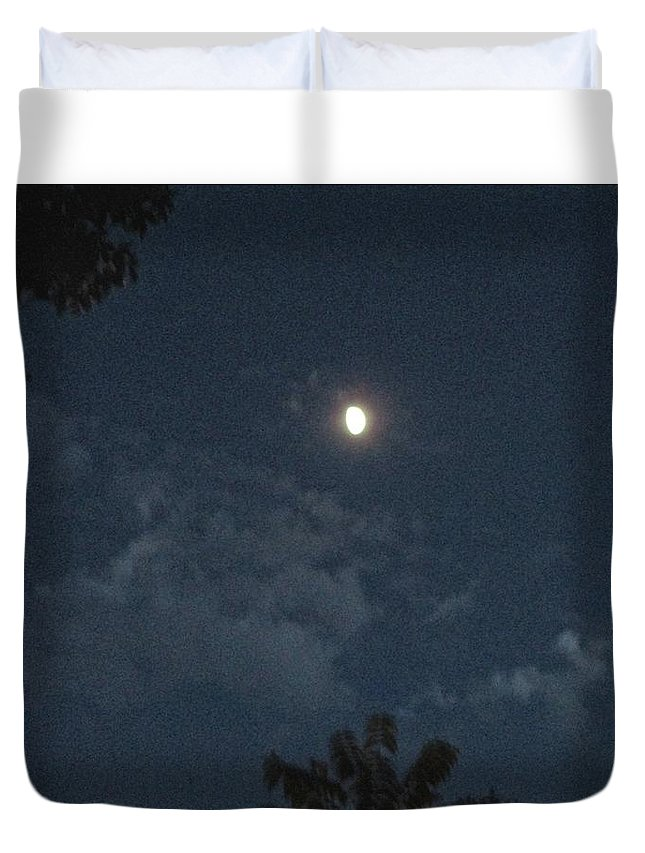 Night Duvet Cover featuring the photograph Bright Moon by Janet K Wilcox