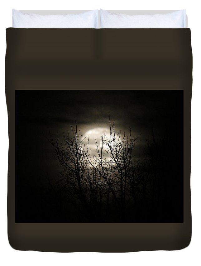 Moon Duvet Cover featuring the photograph Bright Night by Laurel Powell