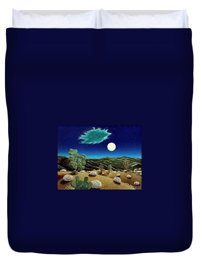 Acrylic Duvet Cover featuring the painting Bright Night by Snake Jagger