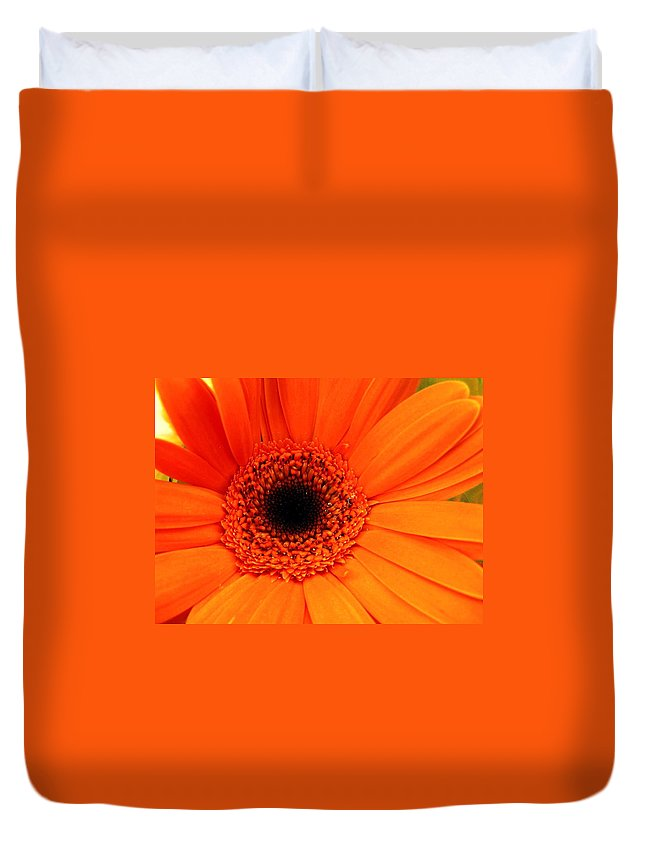 Flower Duvet Cover featuring the photograph Bright Red by Rhonda Barrett