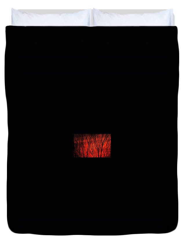 Duvet Cover featuring the photograph Bright Red Sunset by Kenneth Bourassa