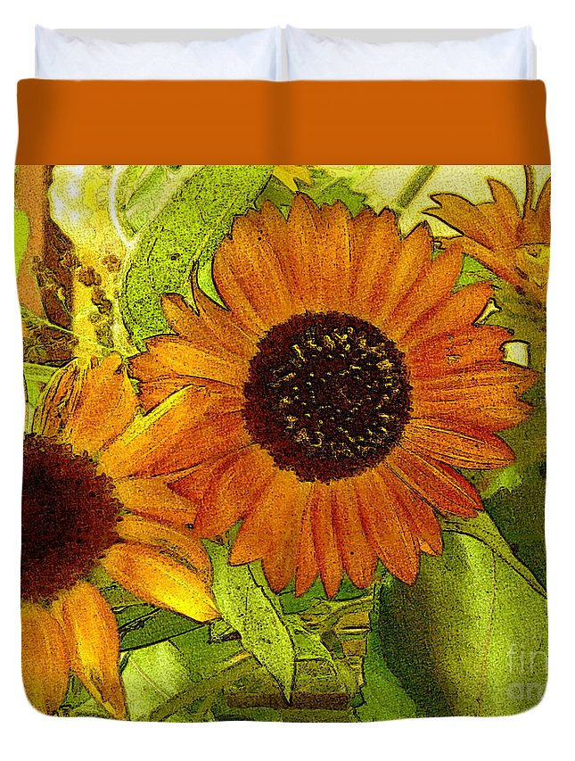 Sunflowers Duvet Cover featuring the digital art Bright Regalia by RC DeWinter