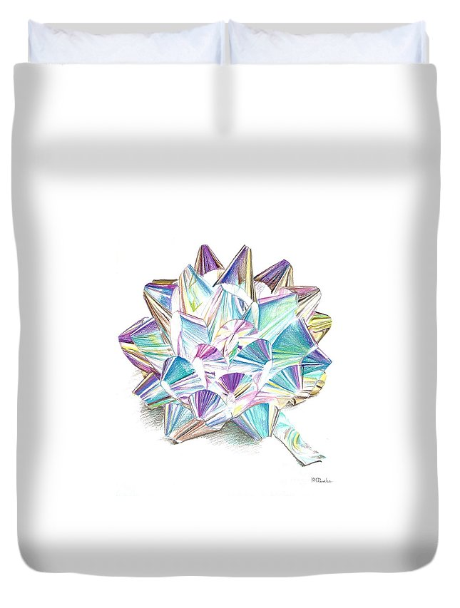 Bow Duvet Cover featuring the drawing Bright Ribbon by K M Pawelec