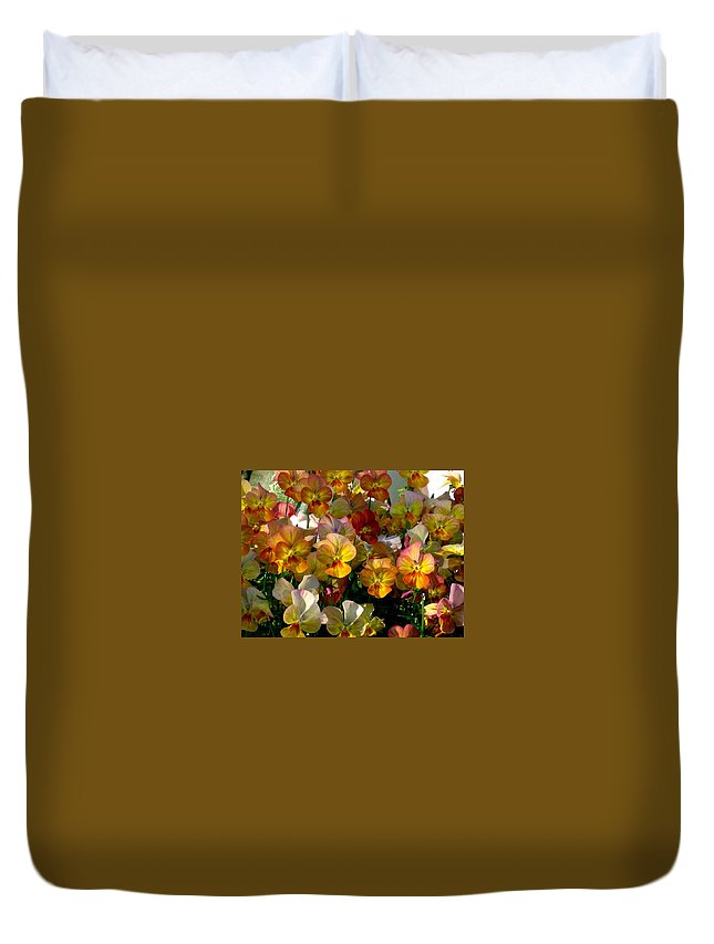 Pansy Duvet Cover featuring the photograph Bright Shining Faces by Marla McFall