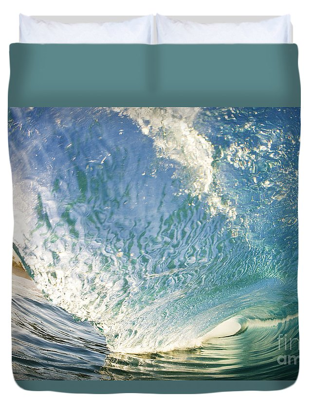 Aqua Duvet Cover featuring the photograph Bright Wave - Makena by MakenaStockMedia - Printscapes