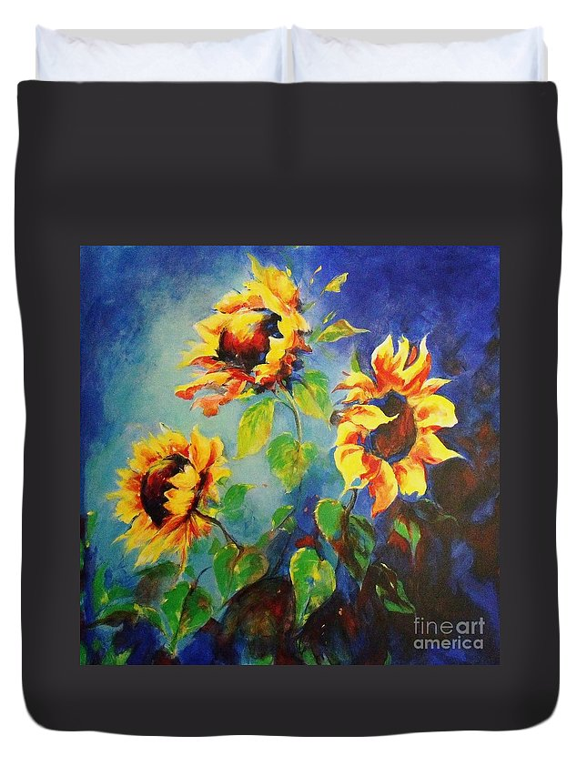 Sunflower Painting Duvet Cover featuring the painting Brighten My Day by Madeleine Holzberg