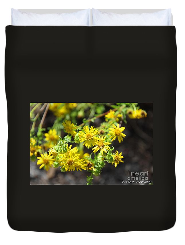 Yellow Flowers Duvet Cover featuring the photograph Brighter Than Sunshine by Barbara Bowen