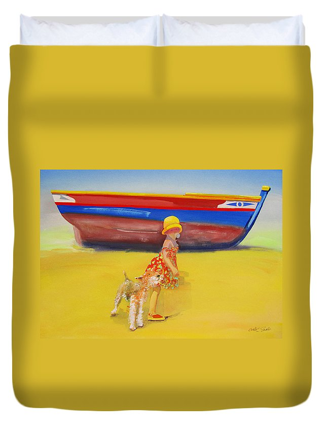 Wire Haired Fox Terrier Duvet Cover featuring the painting Brightly Painted Wooden Boats With Terrier And Friend by Charles Stuart