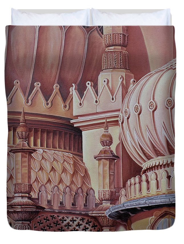 Brighton Duvet Cover featuring the painting Brighton Palace by Pauline Sharp