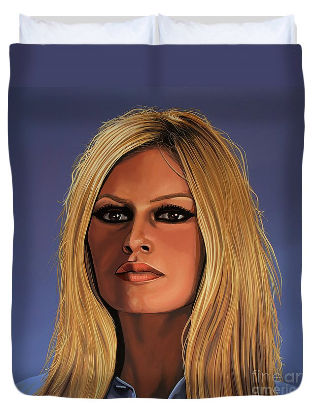 Brigitte Bardot Duvet Cover featuring the painting Brigitte Bardot Painting 3 by Paul Meijering