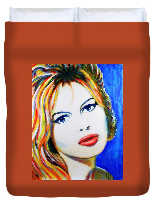 Brigitte Bardot Duvet Cover featuring the painting Brigitte Bardot Pop Art Portrait by Bob Baker
