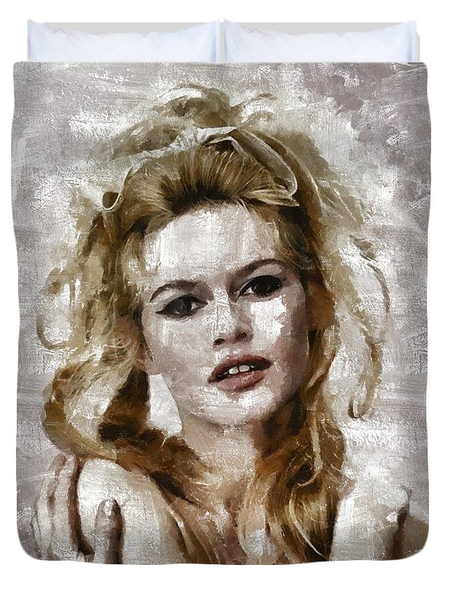Hollywood Duvet Cover featuring the painting Brigitte Bardot, Vintage Actress by Mary Bassett