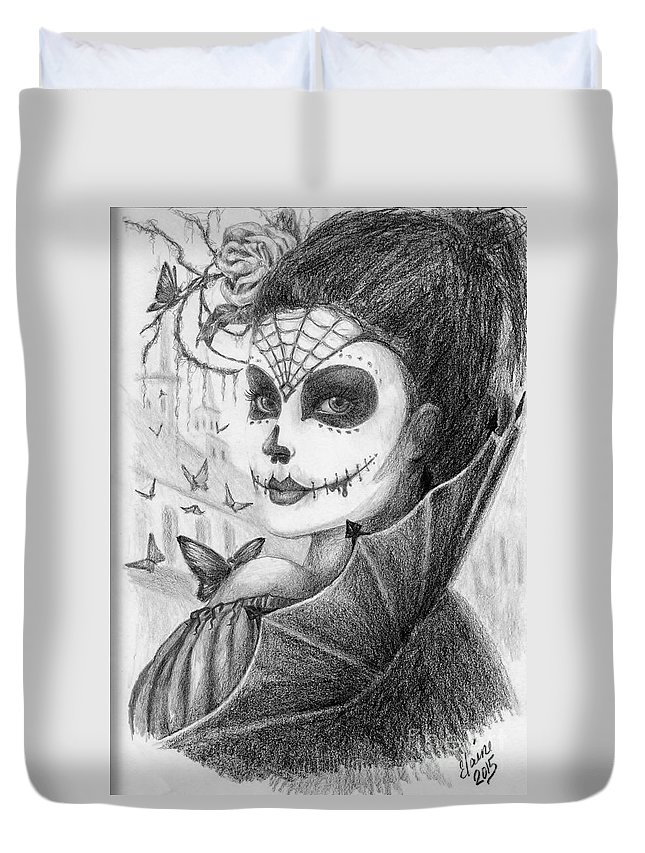 Skull Portrait Duvet Cover featuring the drawing Brigitte by Elaine Berger