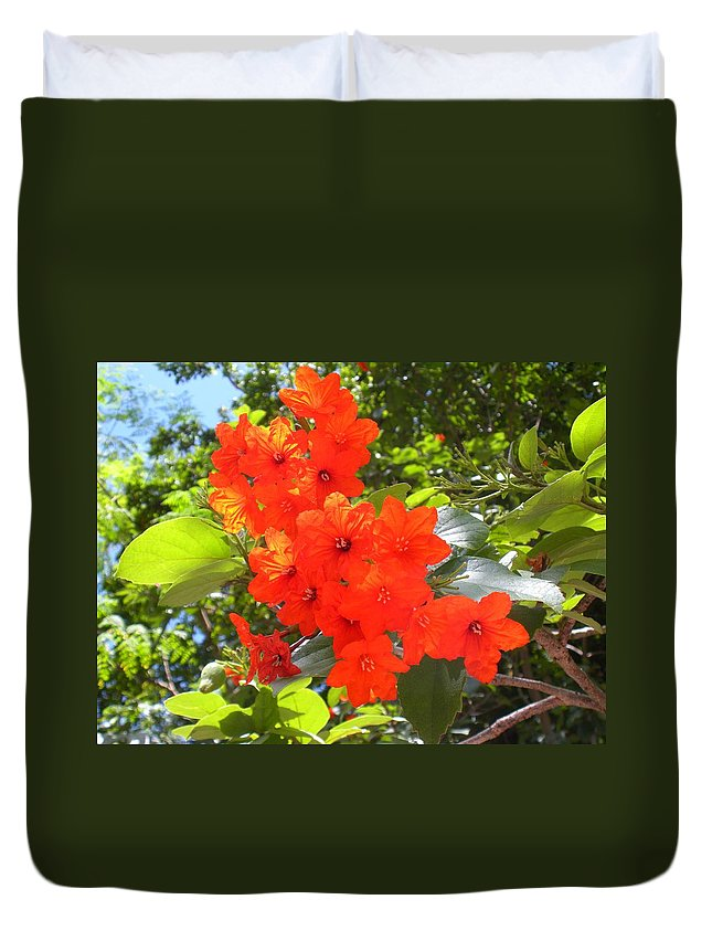 Flowers Duvet Cover featuring the photograph Brilliant Blossoms by Maria Bonnier-Perez