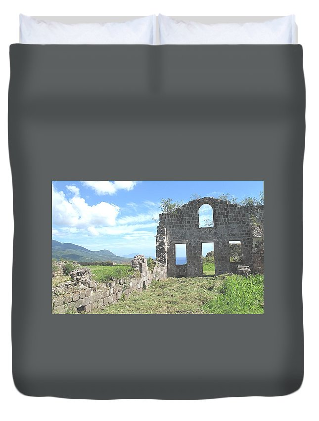 St Kitts Duvet Cover featuring the photograph Brimstone Ruins by Ian MacDonald
