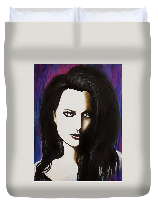 Amy Lee Duvet Cover featuring the painting Bring Me To Life by Amber Stanford