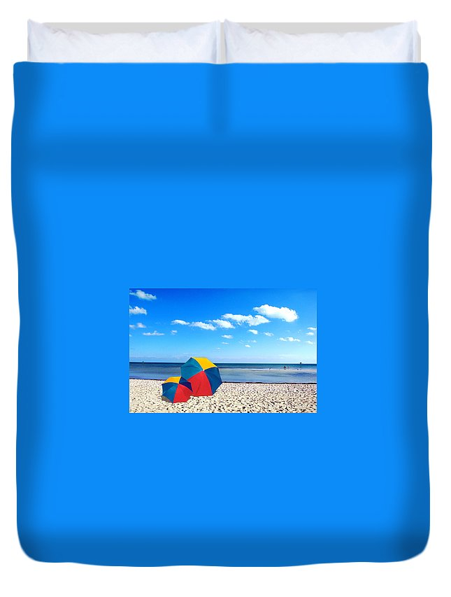 Unbrellas Duvet Cover featuring the photograph Bring The Umbrella With You by Susanne Van Hulst