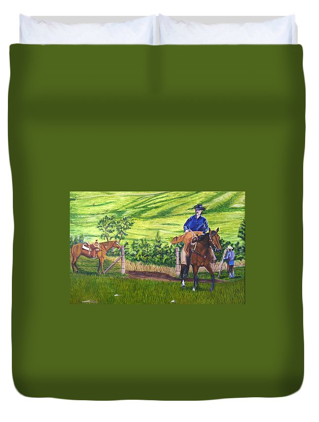 Cowboy Duvet Cover featuring the painting Bringin by Mendy Pedersen