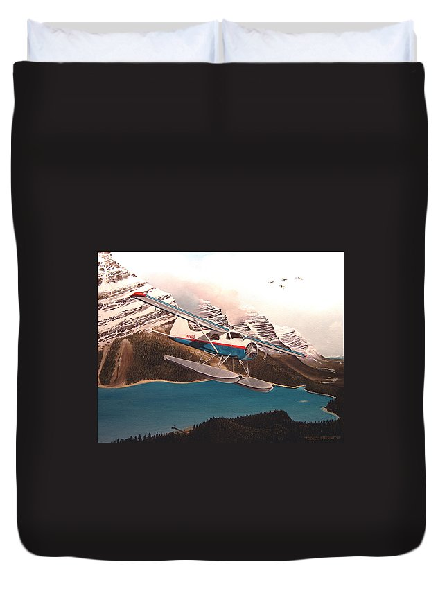 Aviation Duvet Cover featuring the painting Bringing Home The Groceries by Marc Stewart