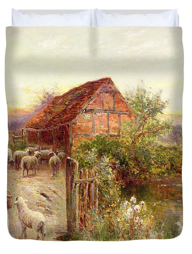 Bringing Home The Sheep By Ernest Walbourn (1872-1927) Duvet Cover featuring the painting Bringing Home The Sheep by Ernest Walbourn