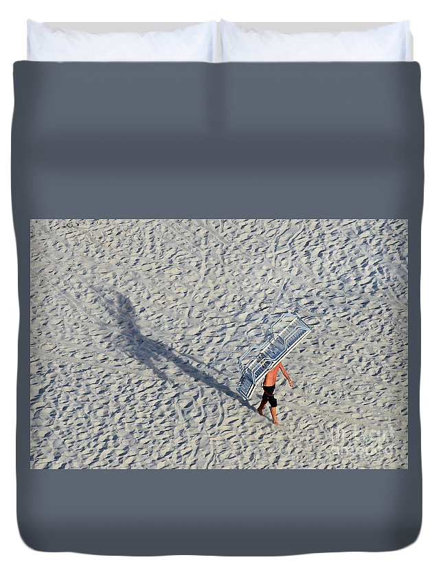 Beach Duvet Cover featuring the photograph Bringing In The Chairs by Craig McCausland