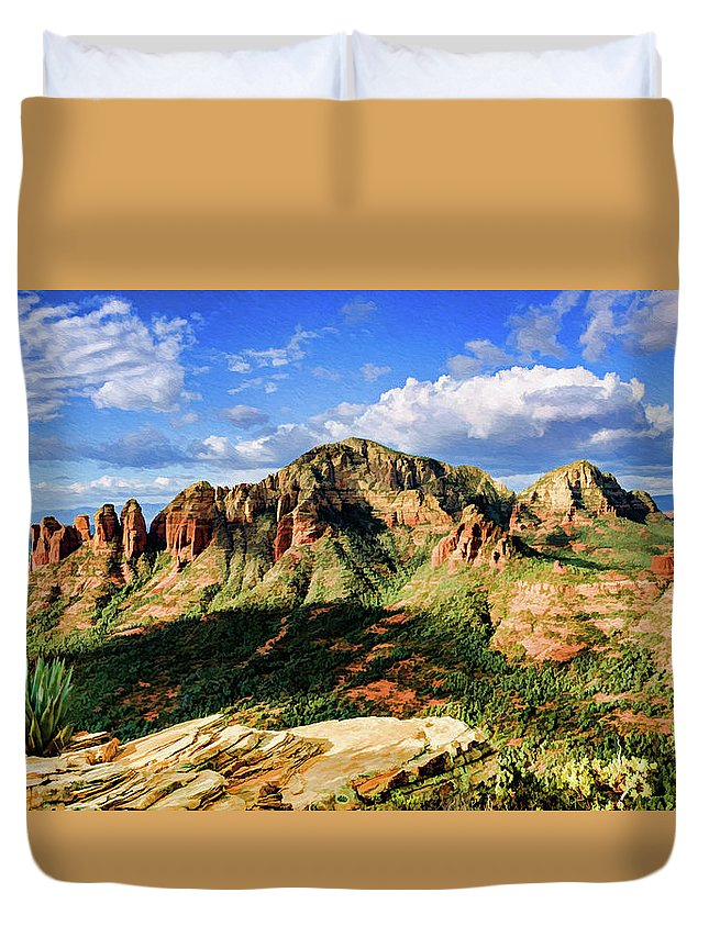 Sedona Duvet Cover featuring the photograph Brins Ridge 04-099pan by Scott McAllister