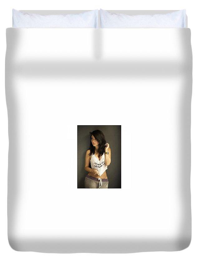 Brisk Body Garcinia Cambogia Duvet Cover featuring the relief Brisk Body Garcinia Cambogia Diet Pill by Koini Parwa