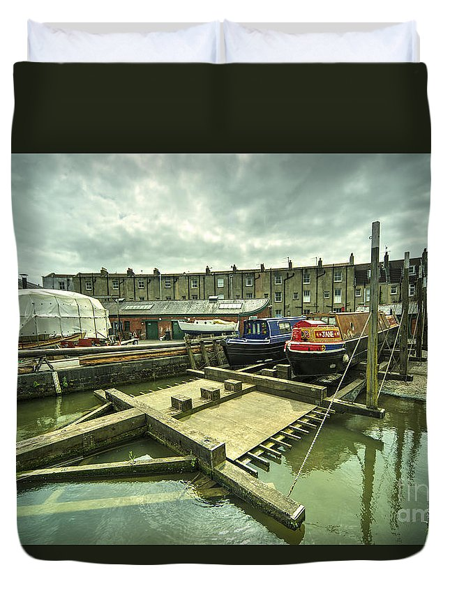 Bristol Duvet Cover featuring the photograph Bristol Barge Dry Dock by Rob Hawkins