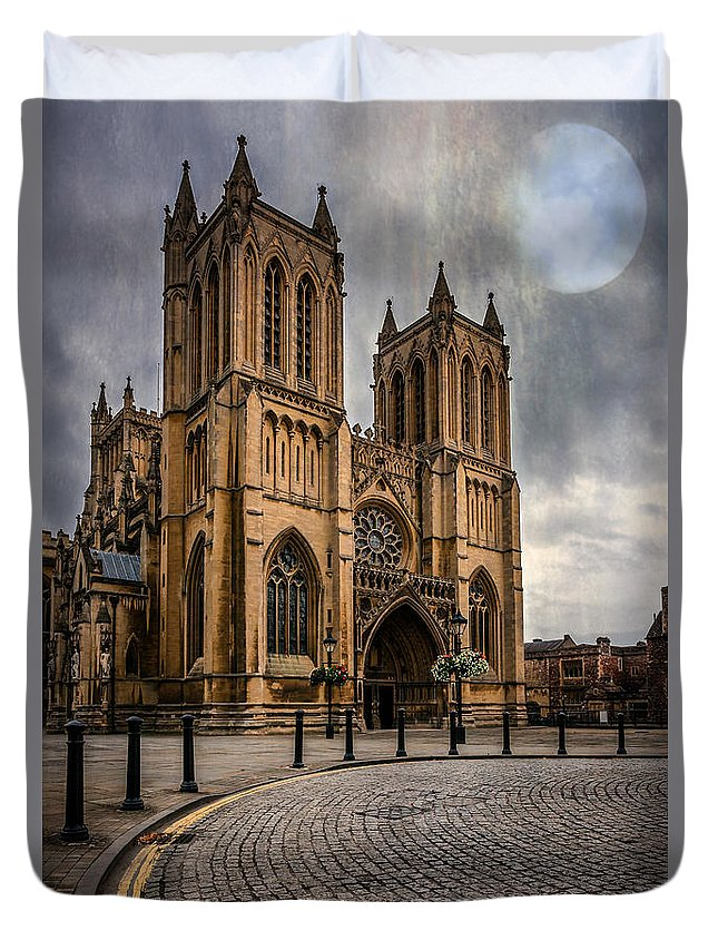Cathedral Duvet Cover featuring the photograph Bristol Cathedral by Adrian Evans