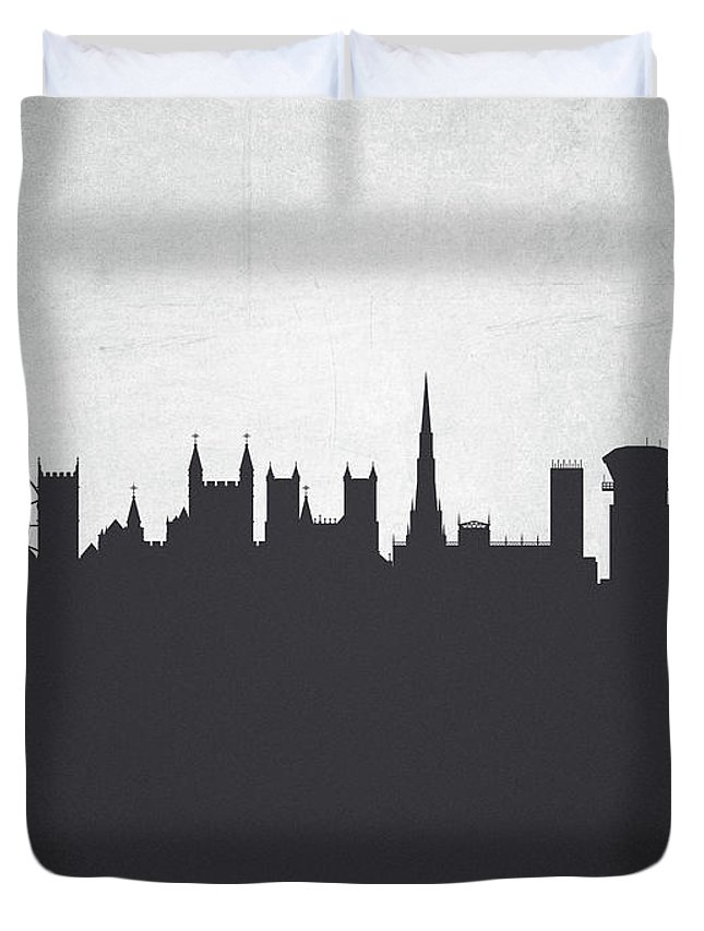 Bristol Duvet Cover featuring the painting Bristol England Cityscape 19 by Aged Pixel